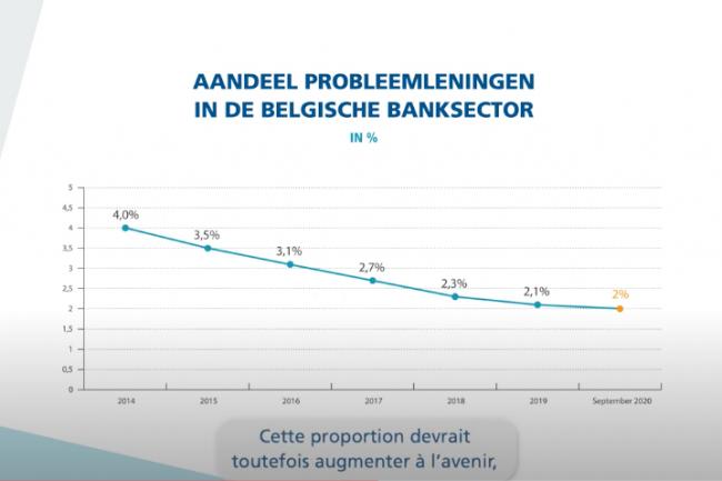 Aandeel probleemleningen in de Belgische bankensector in 2020